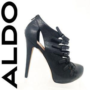 Aldo Black Leather Stiletto Buckle Straps High Hee